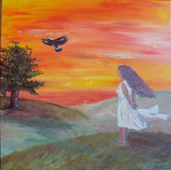 """Ich träume"" - Acrylmalerei 50 x 50 cm"