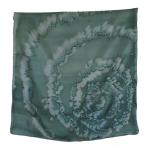Seidentuch grün, handgemalt 45 x 45 cm