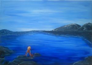 Abendstimmung am See, Akryl auf Leinwand, 70 x 50 cm