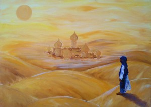 """Traumlandschaften - Fata Morgana"""", Malerei in Acryl auf Leinwand, 70 x 50 cm"""