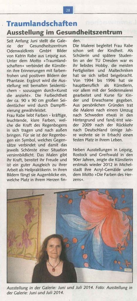 Zeitungsartikel zur Bilderausstellung von Katrin Rabe in der Gallerie in Erbach
